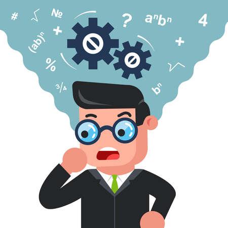 un hombre con gafas está pensando en resolver un problema. mente matemáticamente. Ilustración de vector de personaje plano. Ilustración de vector