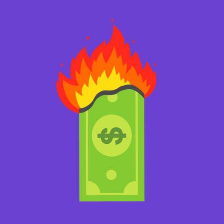 green dollar bill burns. financial crisis. flat vector illustration.