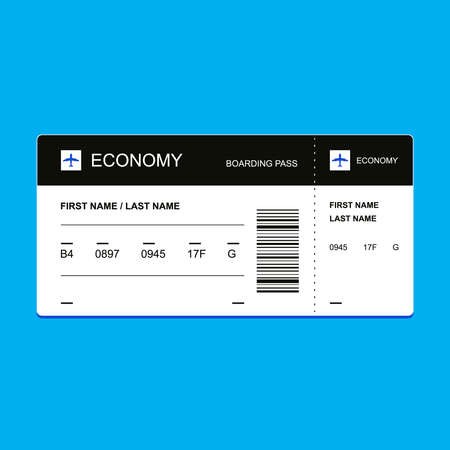 Passenger ticket economy class. flat vector illustration Illustration