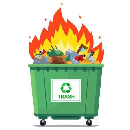 burning waste bin. flat vector illustration. green container