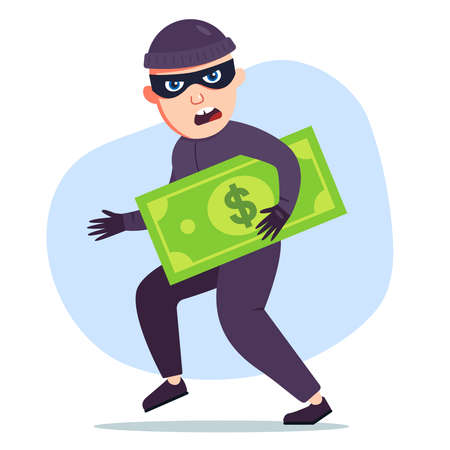 a thief who has stolen money is holding a big dollar bill in his hands. Flat vector illustration of a bandit character.
