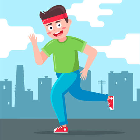 male runner runs against the backdrop of the city. Flat character vector illustration.