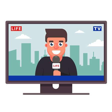 a television correspondent is telling the news. joyful journalist. flat vector illustration