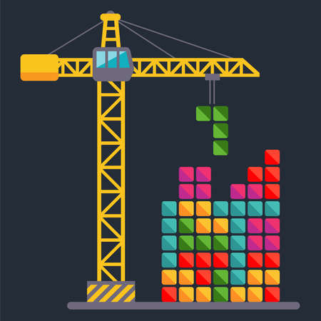 Construction crane builds a constructor. child Game. flat vector illustration.
