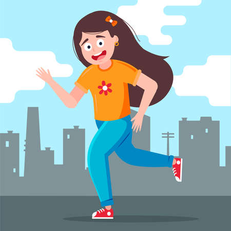 girl joyfully runs against the backdrop of the city. Flat character vector illustration.