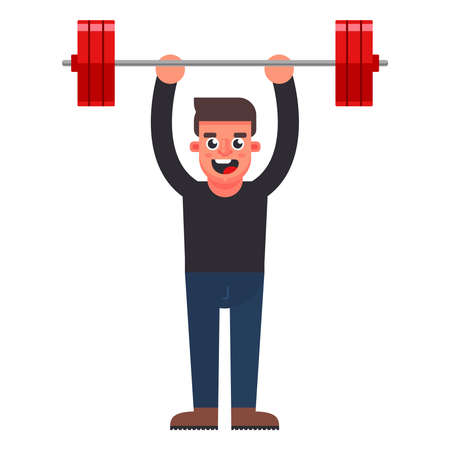 the man easily raises the bar. flat character vector illustration