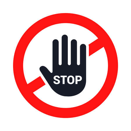 stop sign. the hand stops. flat vector illustration.