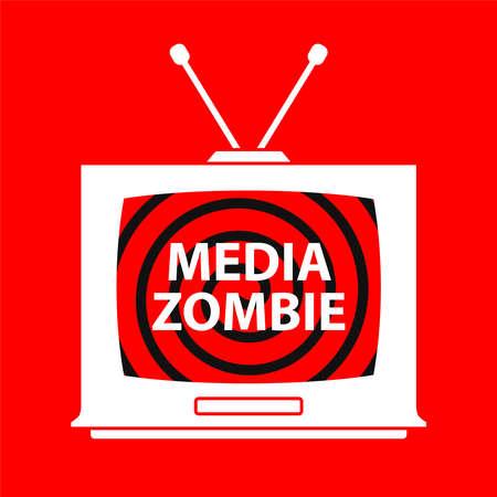 hypnosis on an old TV. bad propaganda. flat vector illustration. Vektorové ilustrace