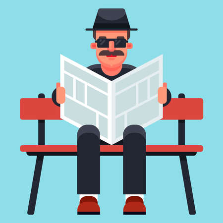 an old man in a hat is reading a newspaper. Private undercover agent undercover. Flat character vector illustration.