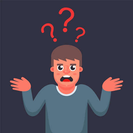 the man is puzzled does not know the answer to the question. question mark above the head. Flat character vector illustration.