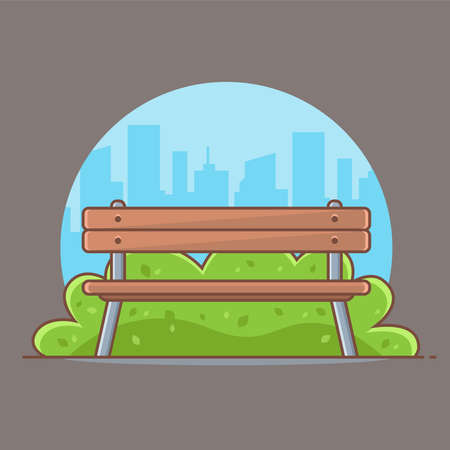 wooden park bench on the background of the city. flat vector illustration.