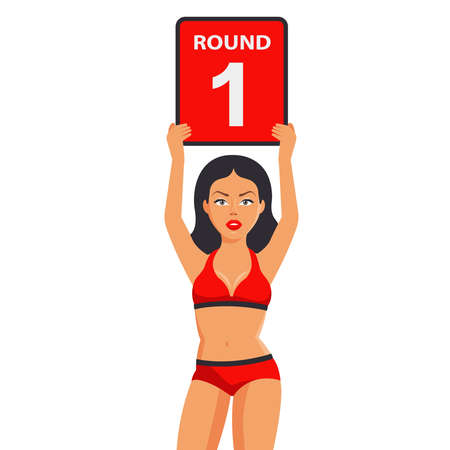 sports girl with a sign in her hands announces the first round. sports duel. Flat character vector illustration.