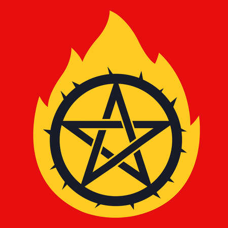star pictogram with spikes in flame. call the devil. flat vector illustration