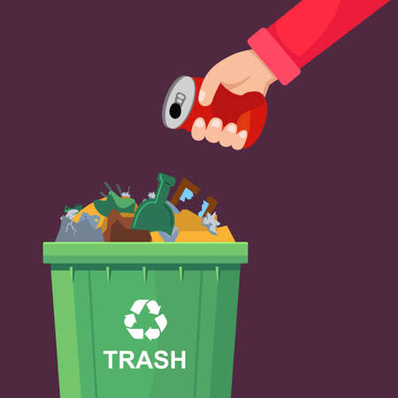 a man throws a can in a crowded trash can. flat vector illustration