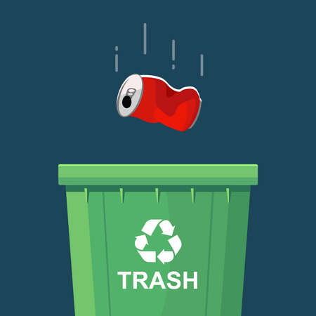 throwing a can in a green trash bin. flat vector illustration