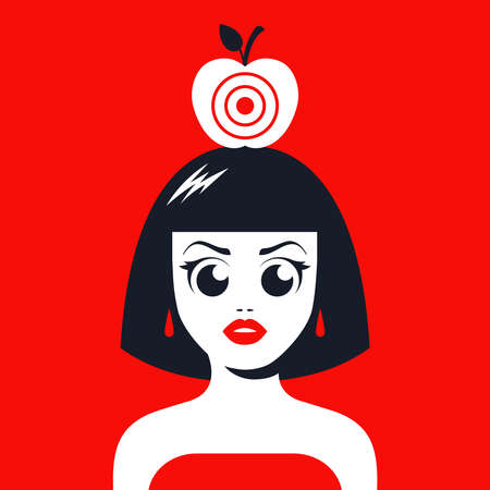 girl with an apple on her head with a target for shooting. risk your life. flat vector illustration.