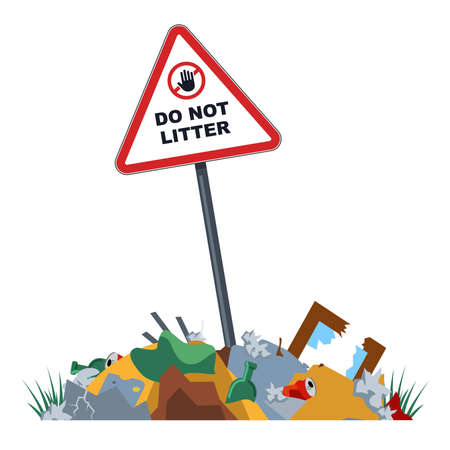 unauthorized landfills in the forbidden zone. environmental pollution. city dumps in forbidden places. flat vector illustration.