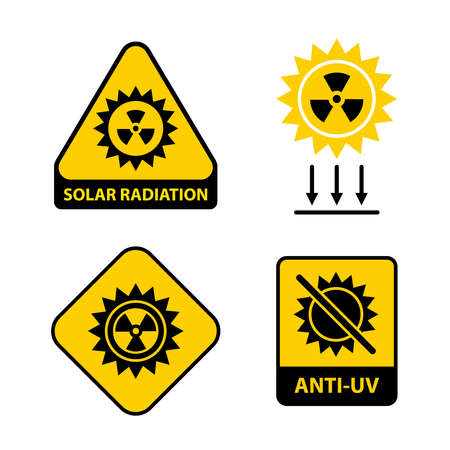 Set of solar radiation icons. flat vector illustration.