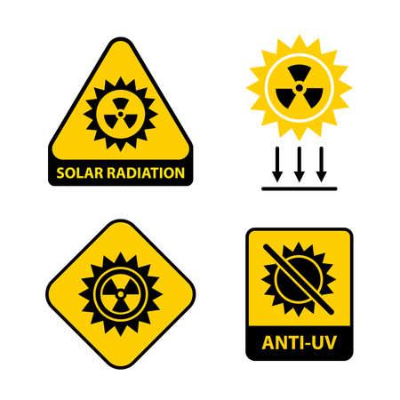 Set of solar radiation icons. flat vector illustration.