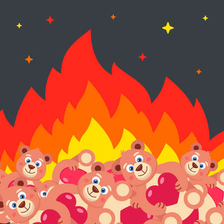 burning a bunch of teddy bears with hearts. destruction of toys. flat vector illustration