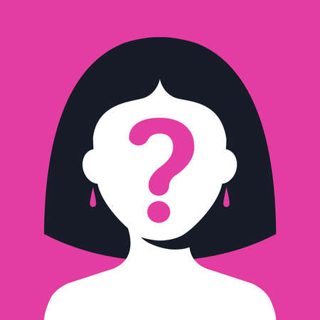 girl with a question mark on her face on a pink background. hide your face. flat vector illustration.