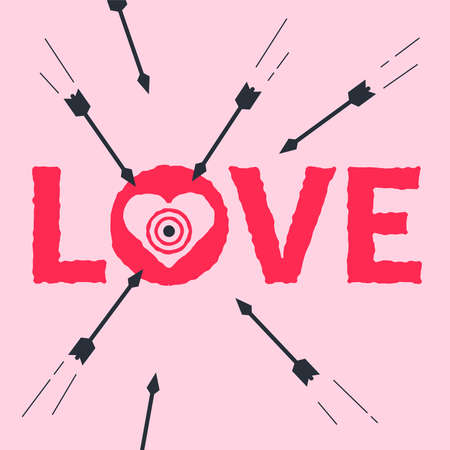 love in the form of a target. shoot at the heart. flat vector illustration.