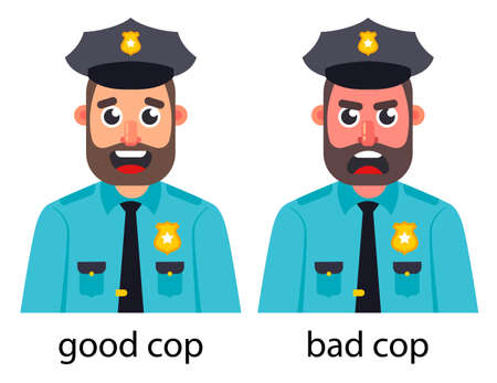 Bad good cop on a white background. Flat character vector illustration. Иллюстрация