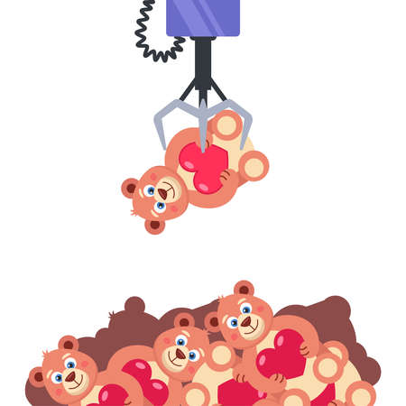 slot machine with toys. hold the toy crochet. get the coveted prize. flat vector illustration.