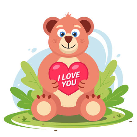 a teddy bear with a heart in its paws sits in a clearing in the grass. Flat character vector illustration.