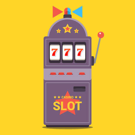 slot machine flat with flasher. win the jackpot at the casino. the number 777 fell out. vector illustration.