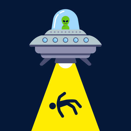 UFO abducts a person at night for experiments. cosmic ray. flat vector illustration.