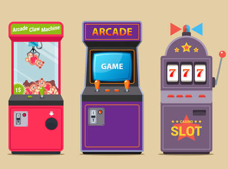 set of slot machines in a shopping center. flat vector illustration. Çizim