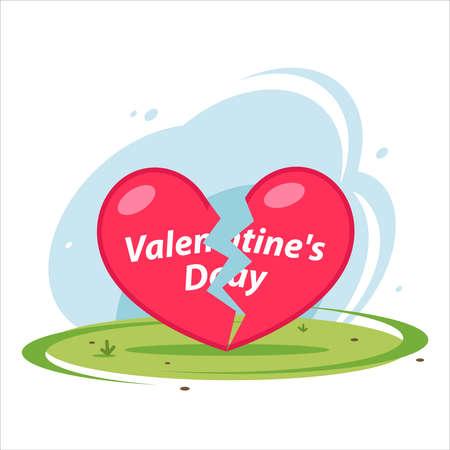 broken heart lies on grass on holiday valentines day. flat vector illustration