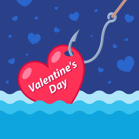 catch love at sea crochet for fishing. flat vector banner for valentines day