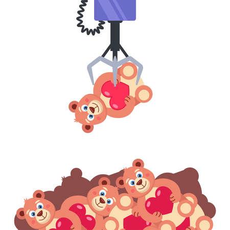 machine à sous avec des jouets. tenir le jouet au crochet. obtenir le prix tant convoité. illustration vectorielle plane. Vecteurs