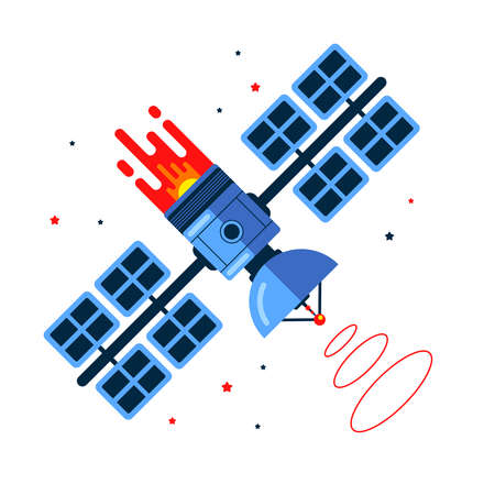 satellite flies in space among the stars. trigger a signal. flat vector illustration