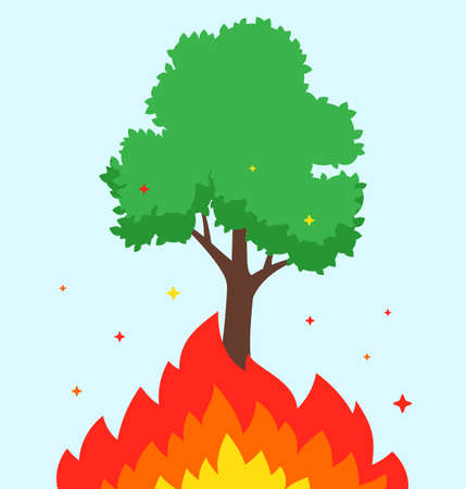 the tree is burning. fire in the forest. the flame burns. flat vector illustration.