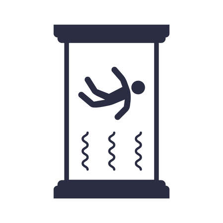 Wind tunnel flat icon on a white background. entertainment with gravity. float in the air. flat vector illustration.