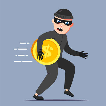 the criminal stole a gold coin. run away from the crime scene. Flat character vector illustration.