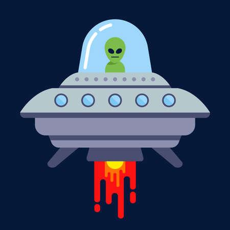 un extraterrestre vuela en un platillo volante en la noche. ilustración vectorial plana.