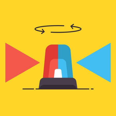 The red and blue flasher rotates and shines on a yellow background. flat vector illustration.