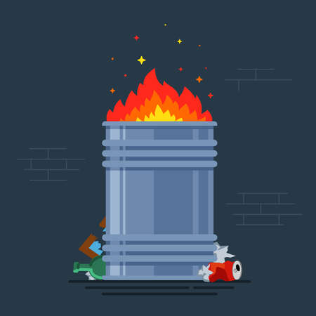 trash can burns. bonfire for poor people. burning a bunch of monsoon. flat vector illustration. Çizim