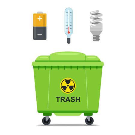 Mülleimer zum Aufbewahren von gefährlichem Müll. flache Vektorillustration. Vektorgrafik