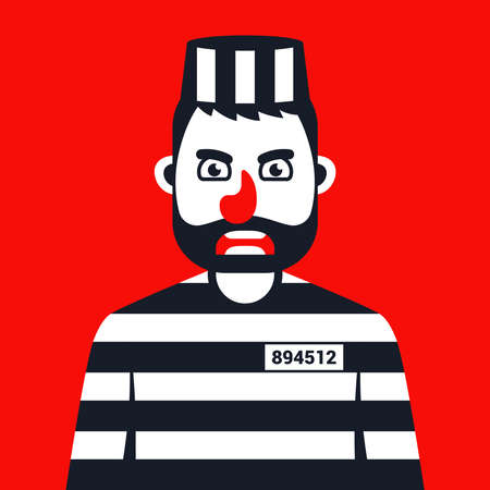 angry criminal in prison striped uniform. Flat character vector illustration.