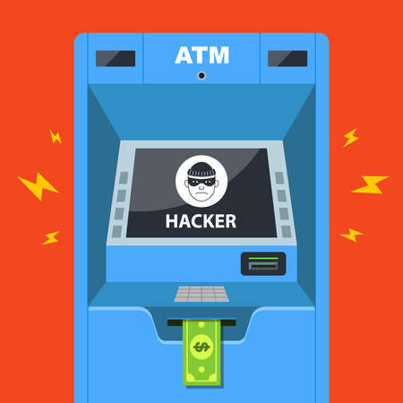 hacker hacked an ATM and steals money. flat vector illustration Ilustracja