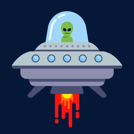 an alien flies on a flying saucer in the night. flat vector illustration.