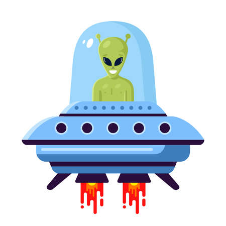 green cute alien in a UFO on a white background. flat vector illustration