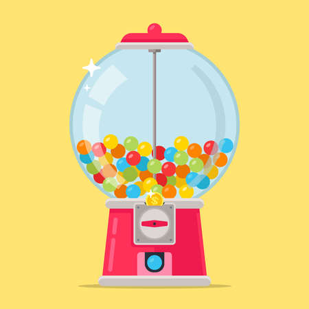 pink candy machine for kids. multi-colored chewing balls. flat vector illustration.