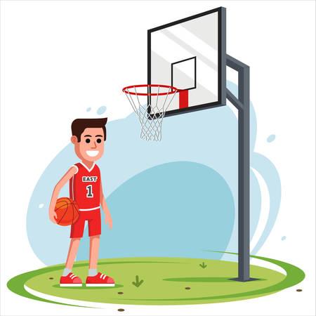 un homme dans la cour joue au basket. panier de basket-ball d'équipement. illustration vectorielle plane. Vecteurs