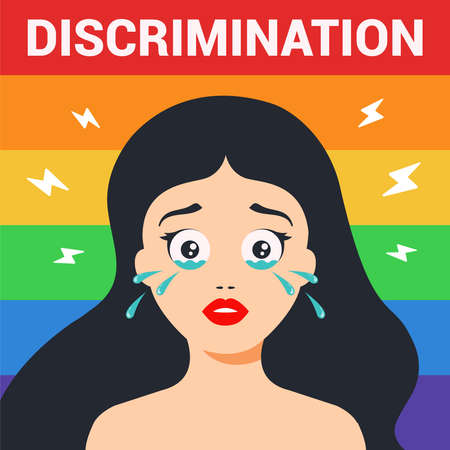 discrimination against women of the LGBT community. the girl is crying. Flat character vector illustration.